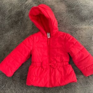 Little Me red puffer hooded coat with bow